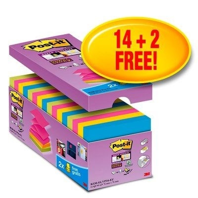 Image of   Post-it Z-Notes 76x76 Super Sticky V-Pack (16)
