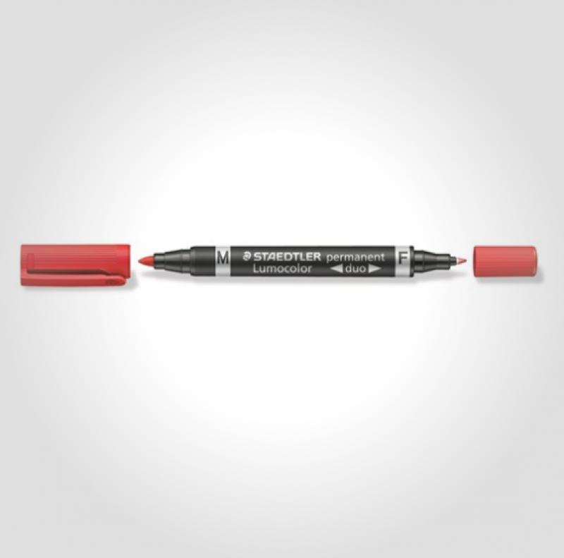 Image of   Marker Lumocolor Duo Perm 0,6-1,5mm rød