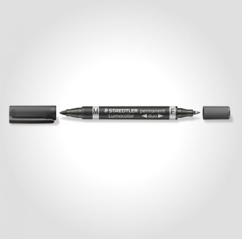 Image of   Marker Lumocolor Duo Perm 0,6-1,5mm sort