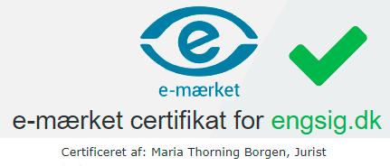 Engsig E-mærke Certifikat